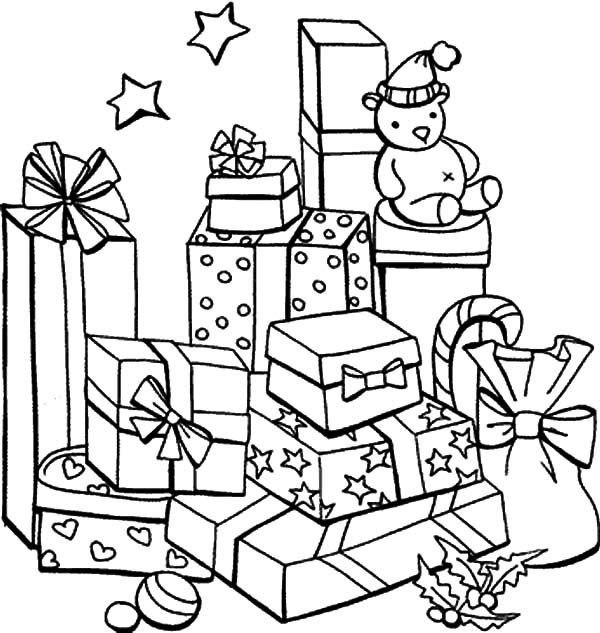 coloring page christmas tree with presents mountain of christmas presents coloring pages - Coloring Pages Christmas Presents