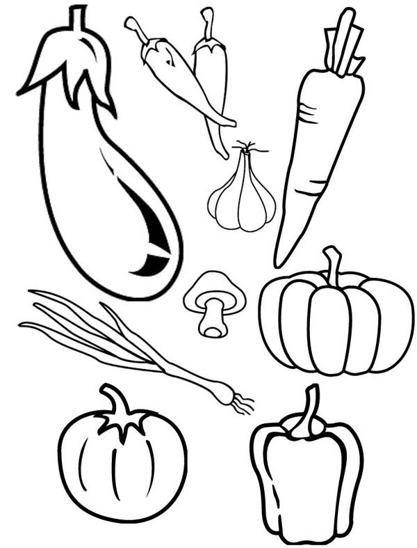 Cornucopia Fruits And Vegetables Coloring Pages