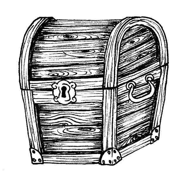 A Classic Wooden Treasure Chest Coloring Page A Classic Wooden