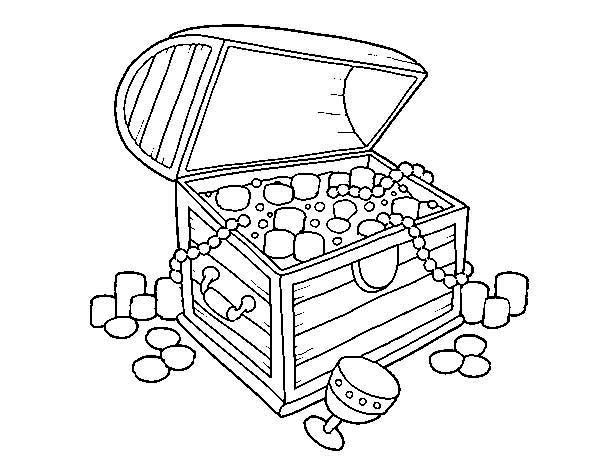 an opened yet empty treasure chest coloring page - Open Treasure Chest Coloring Page
