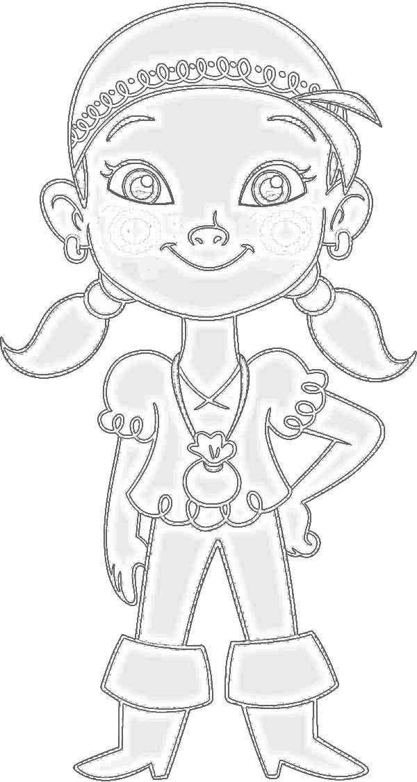 izzy the vice captain of never land pirates coloring page - Jake Neverland Coloring Pages