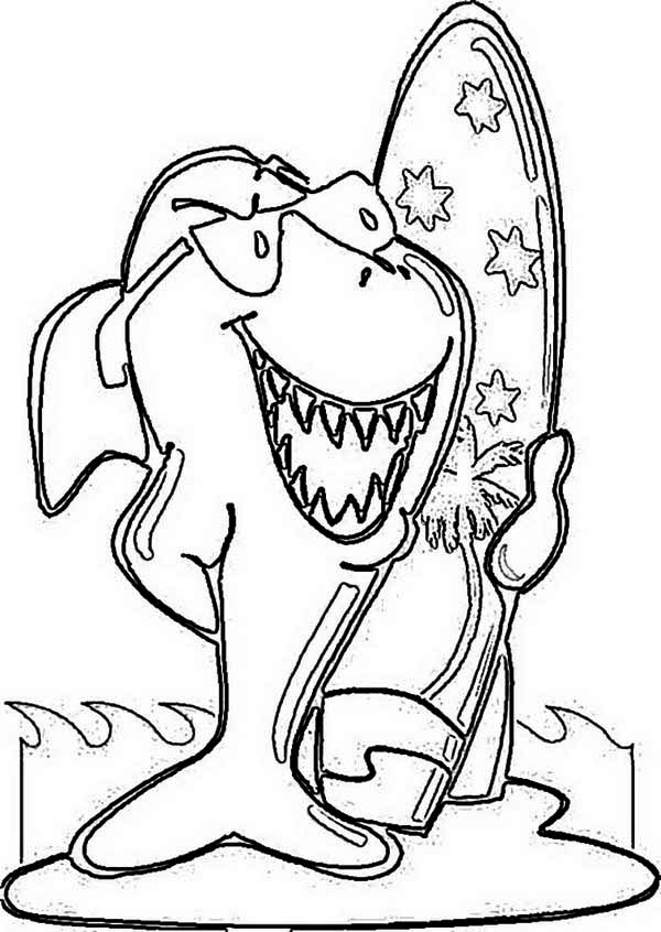 australia day funky shark and his surf board on australia day coloring page funky - Surfboard Coloring Pages Print