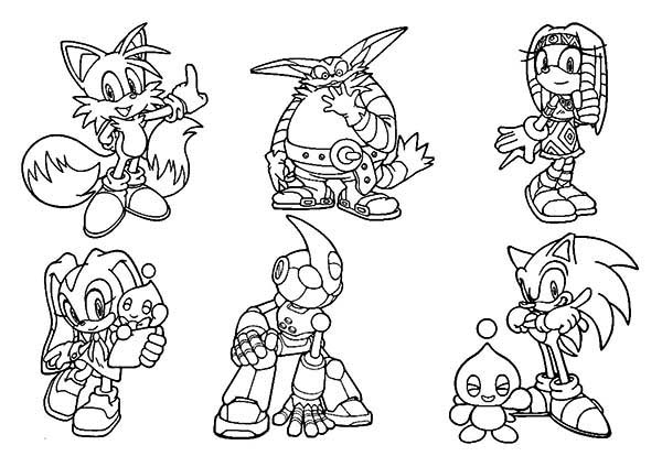 sonic the hedgehog characters coloring page sonic the hedgehog, coloring pages
