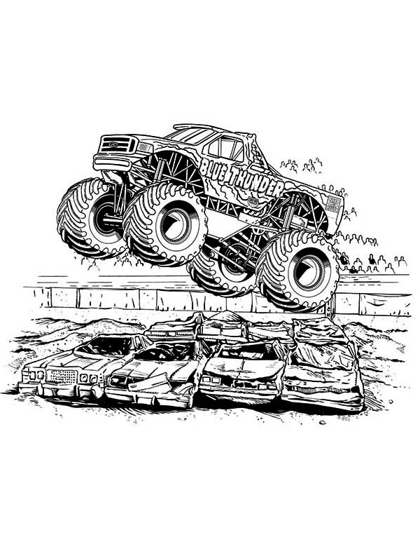 page blue thunder monster truck coloring pagefull 7 - Monster Truck Coloring Pages Free