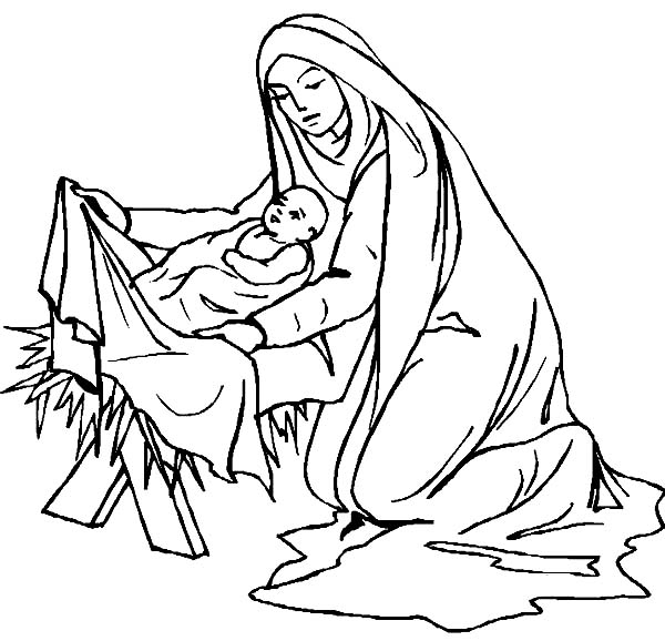 baby jesus mary covered baby jesus body with fabric coloring page mary covered baby - Mary Baby Jesus Coloring Page
