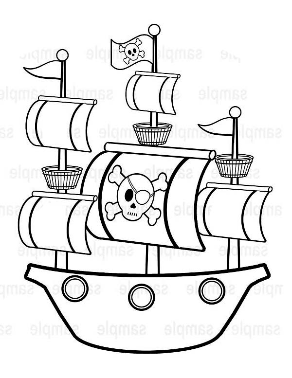 Simple Ship Drawing Print Simple Pirate Ship