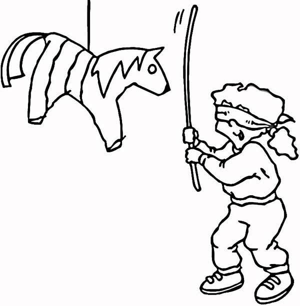 the joyful of hitting pinata coloring page the joyful of hitting