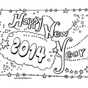 2014 New Years Party Sign Board Coloring Page