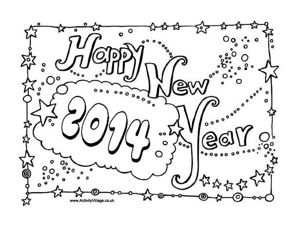 New Year, : 2014 New Years Party Sign Board Coloring Page