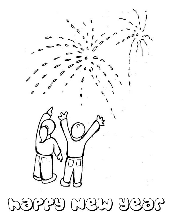 New Year, : A Beauiful Fireworks on the New Years Public Party Coloring Page