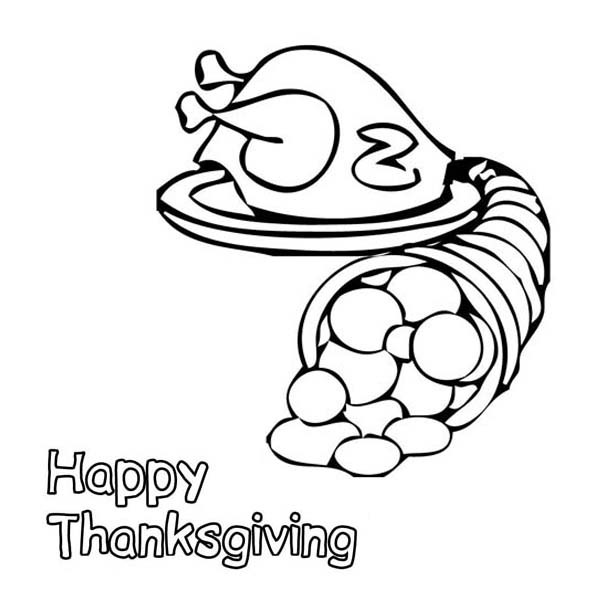 Thanksgiving Day, : A Bucket of Cornucopia and Thanksgiving Day Turkey Coloring Page