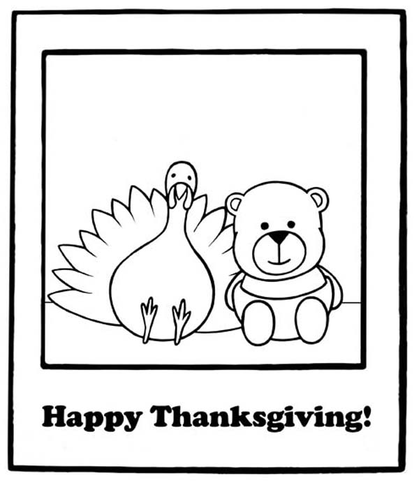 Thanksgiving Day, : A Cute Little Bear and the Turkey on Thanksgiving Day Coloring Page