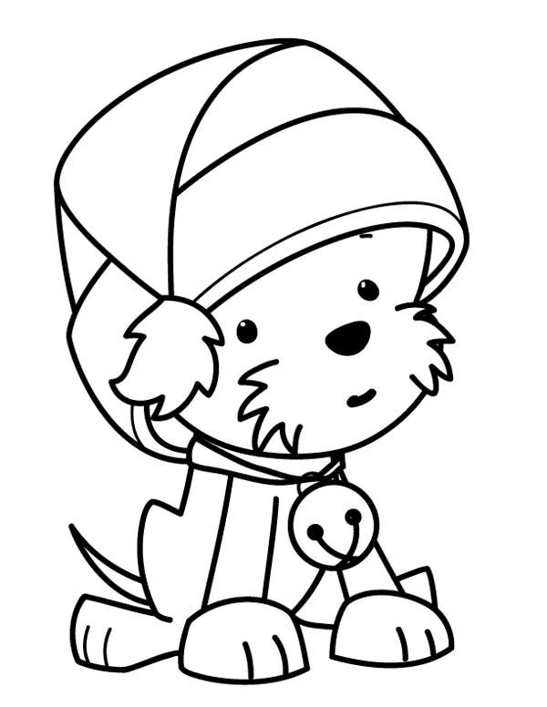 ... Dog Wearing Santas Hat on Christmas Coloring Page | Kids Play Color