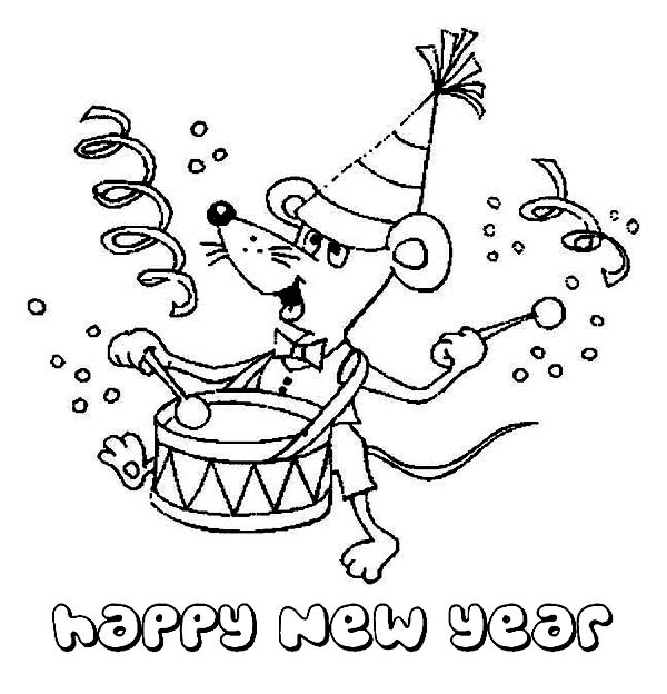 New Year, : A Cute Little Mouse Cheering the New Year by Playing Drum Coloring Page