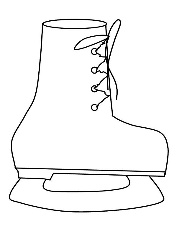 Winter, : A Cute Skate Boots for Winter Activity Coloring Page