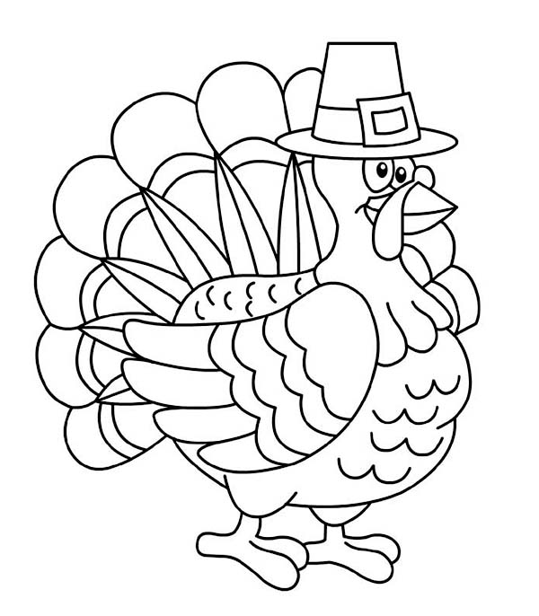 Thanksgiving Day, : A Fat Thanksgiving Day Turkey on Pligrim Custome Coloring Page