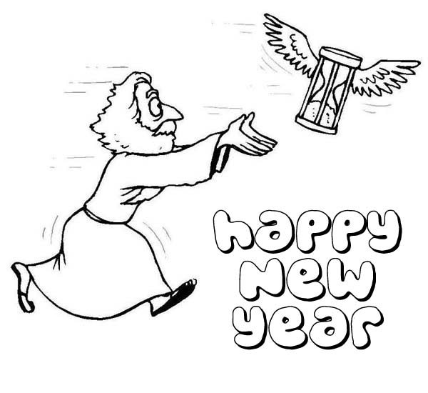 New Year, : A Flying Hourglass Getting Chased by Father Time on New Years Eve Coloring Page