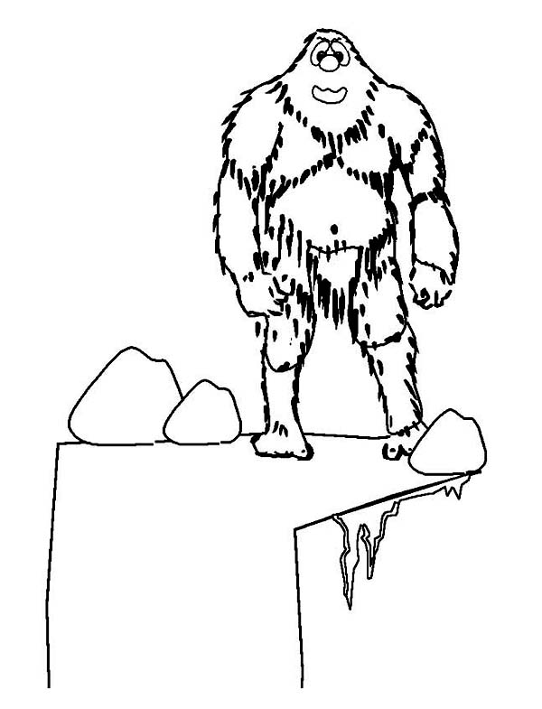 Winter, : A Giant Yetti at the Cliff During Winter Coloring Page