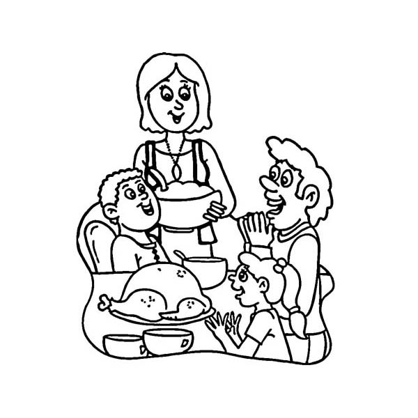 Thanksgiving Day, : A Happy Family on Thanksgiving Day Dinner Coloring Page