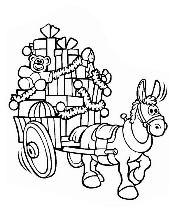a mule with a cart full of christmas presents coloring page
