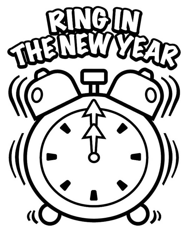 New Year, : A New Ring in the New Year Coloring Page