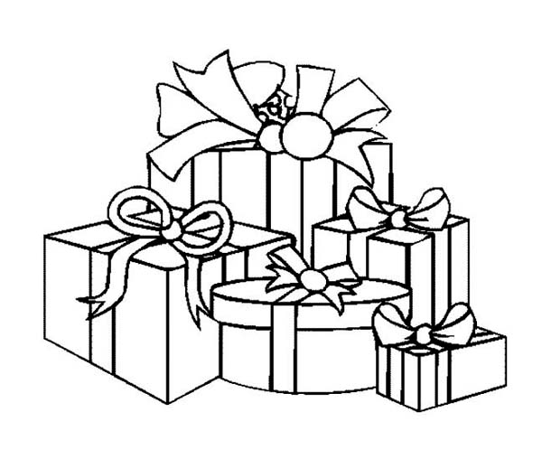 Christmas, : A Packed of Christmas Presents Coloring Page