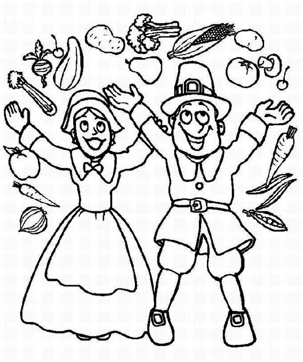 Thanksgiving Day, : A Pilgrim Couple Cheering on Thanksgiving Day Parade Coloring Page
