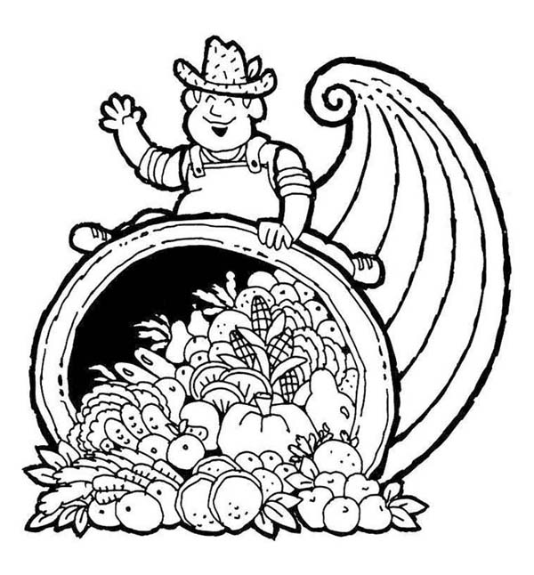 Thanksgiving Day, : A Pilgrim Sitting on Giant Cornucopia on Thanksgiving Day Events Coloring Page