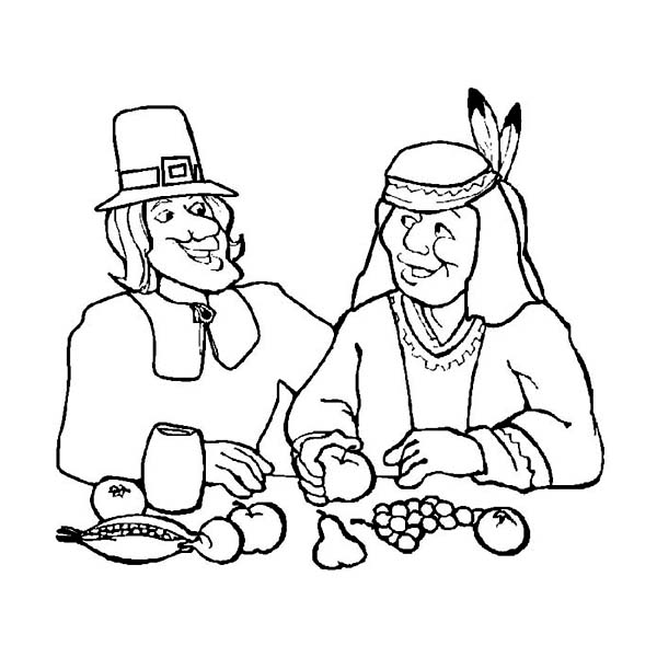 Thanksgiving Day, : A Pilgrim and the Indian on Thanksgiving Day Dinner Coloring Page