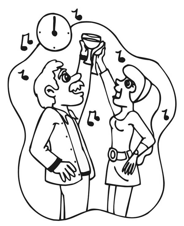New Year, : A Toast at New Years Countdown Coloring Page