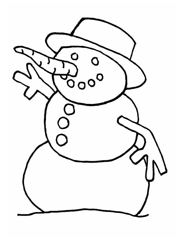 Winter, : A Wierd Snowman with Rounded Hat on Winter Coloring Page