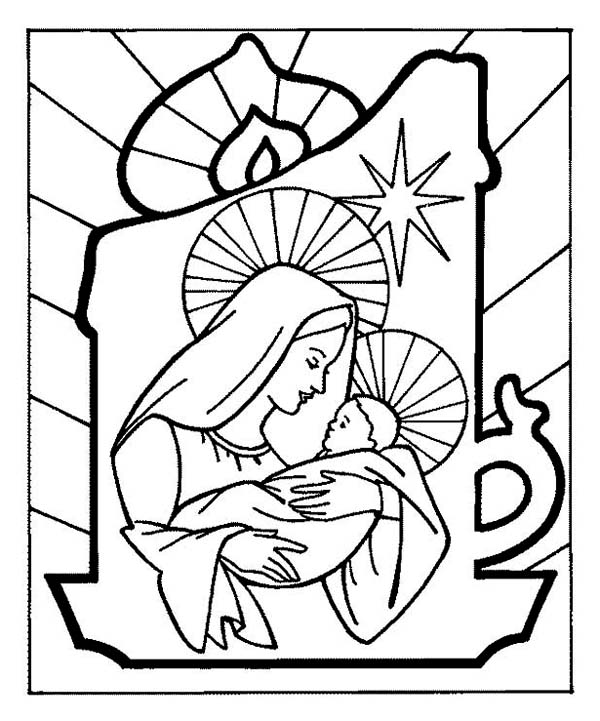 Christmas, : Baby Jesus and Mother Mary on Christmas Eve Coloring Page