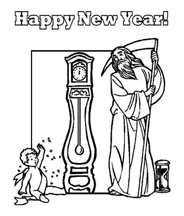 New Year, : Baby New Year and Father Time Waiting the New Years Countdown Coloring Page