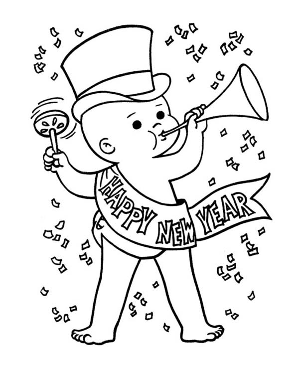 New Year, : Baby New Year in Action on New Years Eve Coloring Page