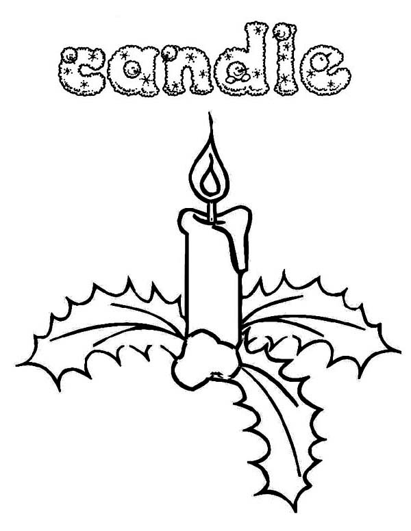 Christmas, : Beautiful Christmas Candle and Mistletoe Coloring Page