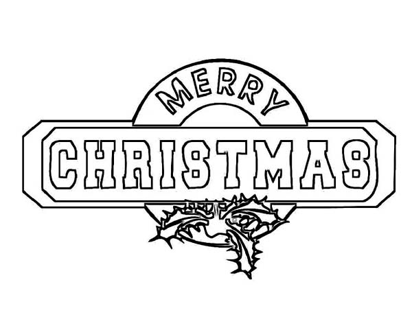 Christmas, : Beautiful Christmas Sign Board Coloring Page