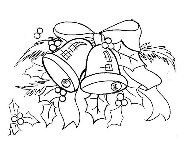 Christmas, : Beautiful Christmas bell Ornament Coloring Page