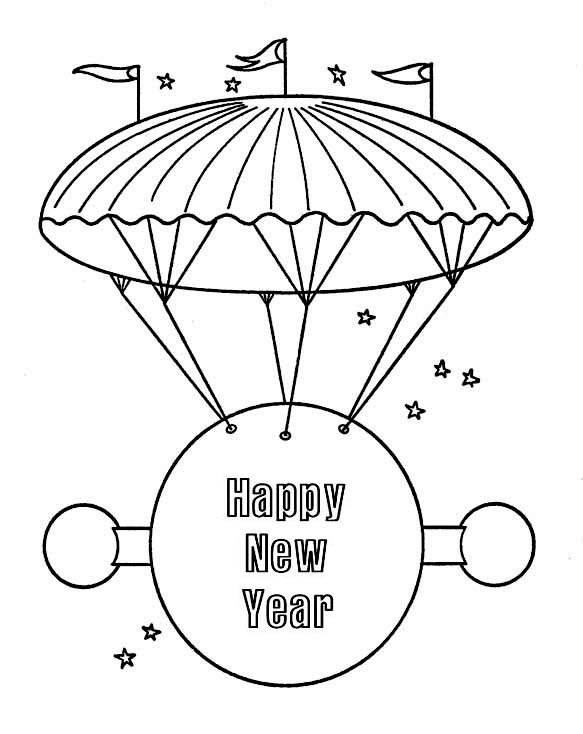 New Year, : Big Flying  Board Says Happy New Year Coloring Page