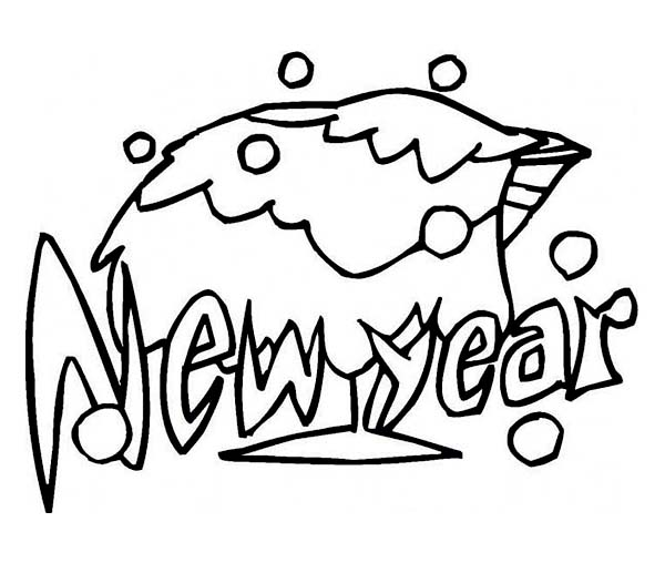 New Year, : Celebrating New Year with a Glass of Campagne Coloring Page