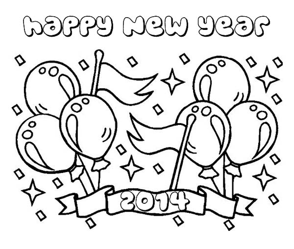 New Year, : Cheerful 2014 New Years Backdrop Coloring Page