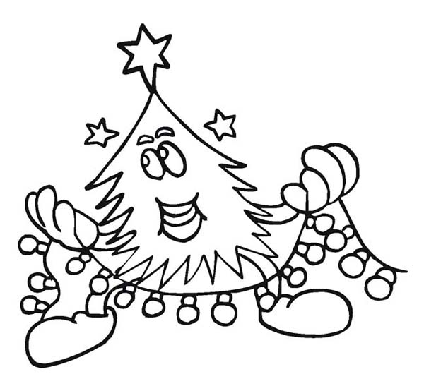 Christmas, : Christmas Tree Doing a Christmas Decoration Coloring Page