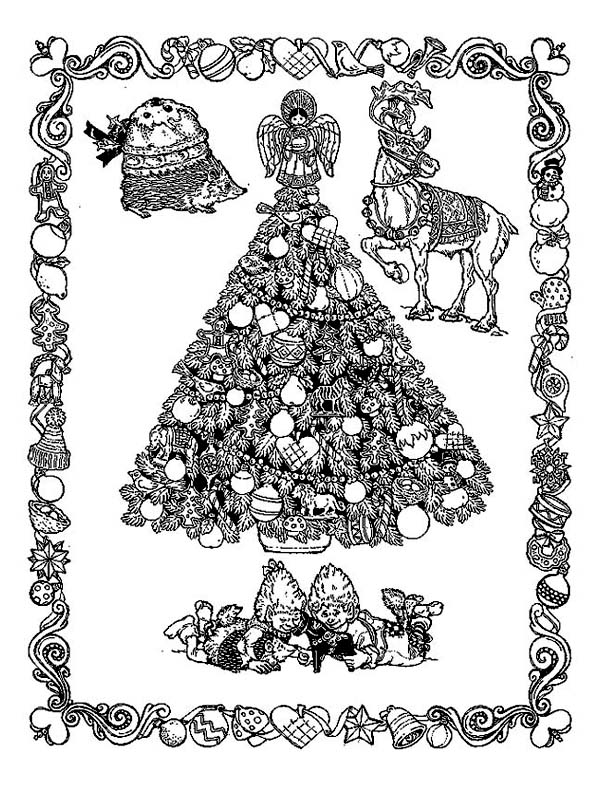 Christmas, : Classic Christmas Illustration from Middle Ages Coloring Page