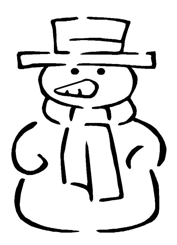 Winter, : Classic Snowman Figure for Winter Event Coloring Page