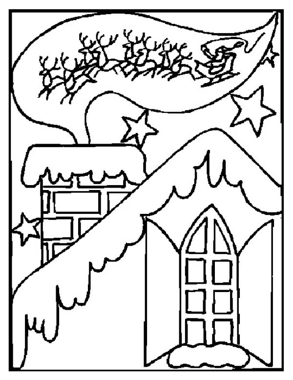 Winter, : Classic Winter and Christmas Card Coloring Page