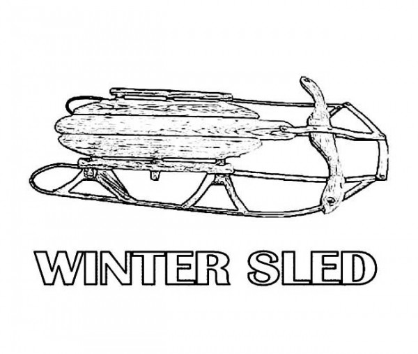 Winter, : Classic Wooden Winter Sled Coloring Page