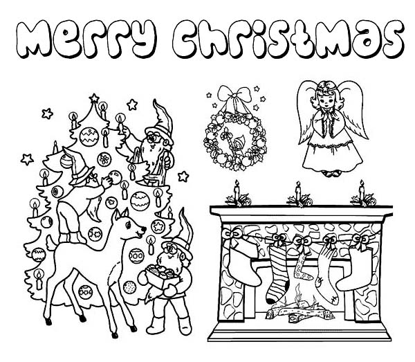 Christmas, : Complete Christmas Symbols for Decoration Coloring Page