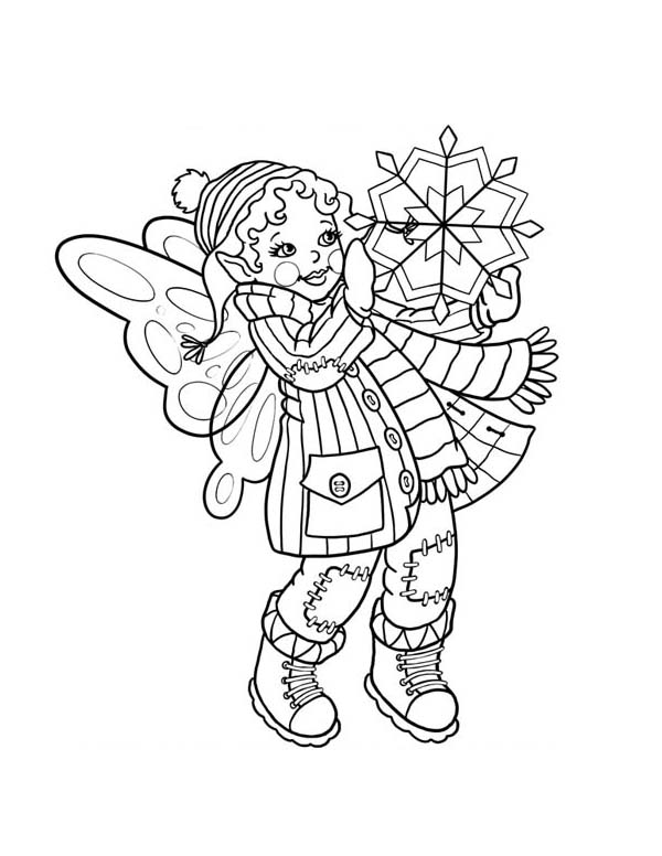 Winter, : Cute Fairy Doll Holding Snowflake on Winter Coloring Page
