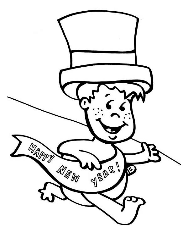 New Year, : Do not Late for the Party Baby New Year Coloring Page