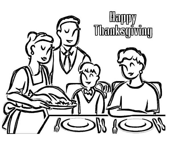 Thanksgiving Day, : Enjoying Thanksgiving Dinner with Whole Family Coloring Page