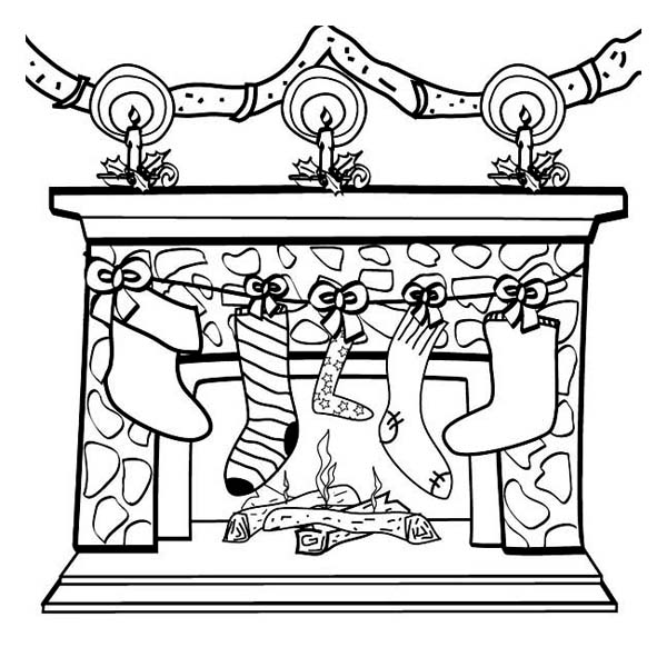 Christmas, : Four Christmas Stocking on the Fireplace Coloring Page